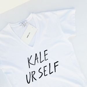 KALE YOURSELF White V-Neck Tee